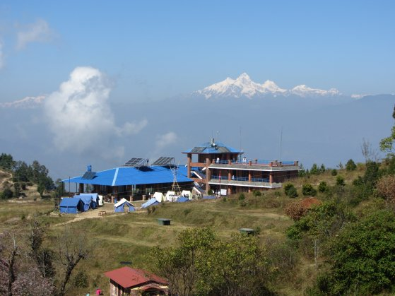 The main dormitory building at Kakani - with the 8000m peak of Manaslu in the background